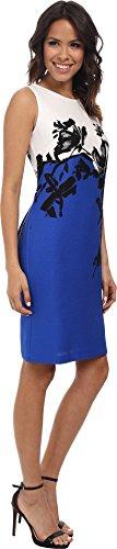 Nine West Women's Sleeveless Bateau Neck Dress, Marine Coast Combo, 12