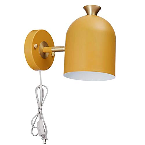 Sconce Brass Porcelain (Adjustable Mid Century Modern Wall Sconce Plug-in On/Off Switch Yellow Minimalist Lamp,UL Listed)