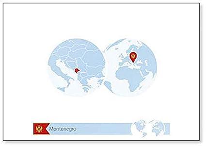 Amazon Com Montenegro On World Globe With Flag And Regional Map
