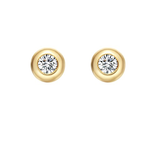 (Carleen Solid 18K Yellow Gold Solitaire Round 0.20cttw Diamond Stud Earrings for Women Girls, Diameter 4.8mm )