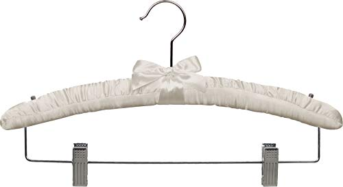 Ivory Satin Combo Hanger with Adjustable Cushion Clips, Padded Wood Hangers with Chrome Swivel Hook & Studs for Shoulder Straps (Set of 12) by The Great American Hanger Company ()