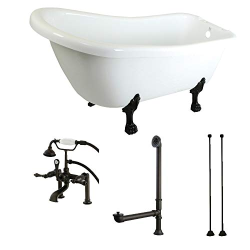 Kingston Brass Slipper 69-inch Acrylic Clawfoot Tub with Faucet Combo White/Oil Rubbed Bronze