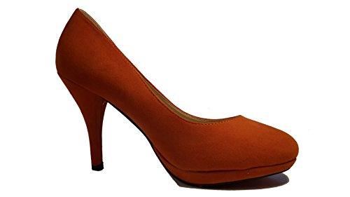 3-W-Hohenlimburg Edle Stiletto Pumps High Heels in Samt - Optik. Violett, Grau, Braun, Orange, Schwarz - Rot Oder Schwarz, Damenschuhe, PHH127, Schuh Für Damen. Ein Ganz Besonderer Schuh. Orange