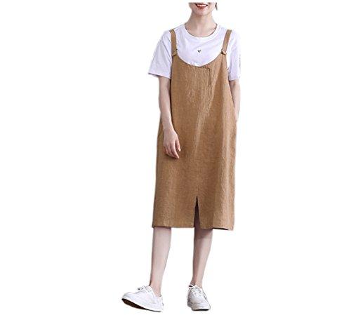 パックお客様トンネルsummer koo綿とリネンのドレスサロペット ワンピース大きいサイズ リネンワンピゆったりとした薄い