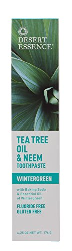 Desert Essence Natural Tea Tree Oil Toothpaste & Neem, Wintergreen,6.25oz, 2pk