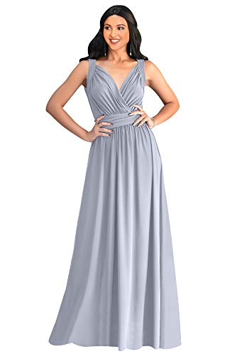 - KOH KOH Plus Size Womens Long Sleeveless Flowy Bridesmaids Cocktail Party Evening Formal Sexy Summer Wedding Guest Ball Prom Gown Gowns Maxi Dress Dresses, Gray Grey 3XL 22-24