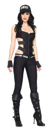 Leg Avenue Women's 4 Pc Swat Zipper Front Catsuit, Black, Medium (Swat Costume Women)
