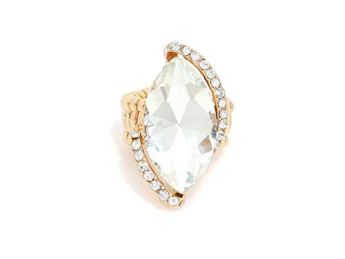 - Marquise Crystal Rhinestone Stretch Cocktail Ring (Clear & Goldtone)