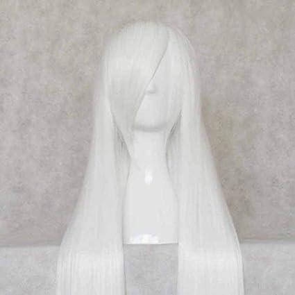 Blanco puro 100CM Mercury lamp peluca blanca larga Suave flecos para cosplay: Amazon.es: Belleza