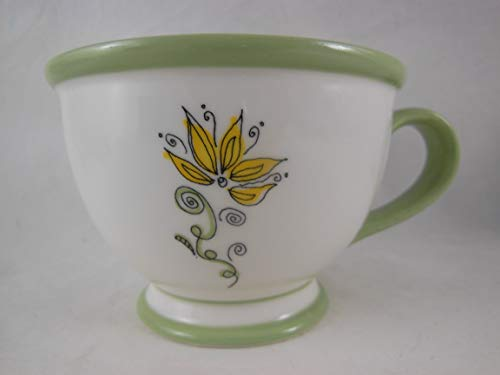 Starbucks Coffee 2006 Nurturing Floral Green Footed Cup 10 - Ounce Footed 10 Mug