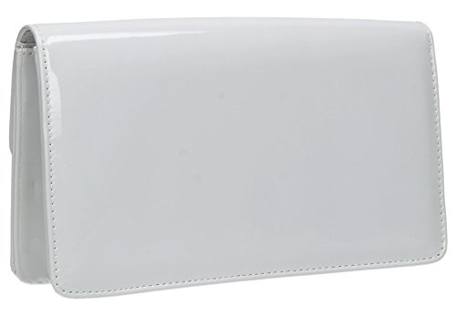 Bag Sara Clutch Prom Envelope Womens Ladies SWANKYSWANS White Patent Party Leather wqUZ6w7ax