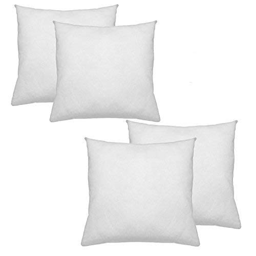 IZO All Supply Premium Hypoallergenic Polyester Decorative Pillows High Loft Throw Pillows Set of 4 18x18 Pillow Inserts - Great Couch Pillows, Bed Pillows, Floor Pillows (Plain Decorative Pillow Cases)