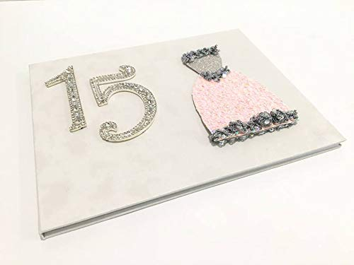 Quinceanera Birthday Dress Guest Book with Mis Quince Anos Rhinestone Numbers 15 Princess Silver, And Pink Design
