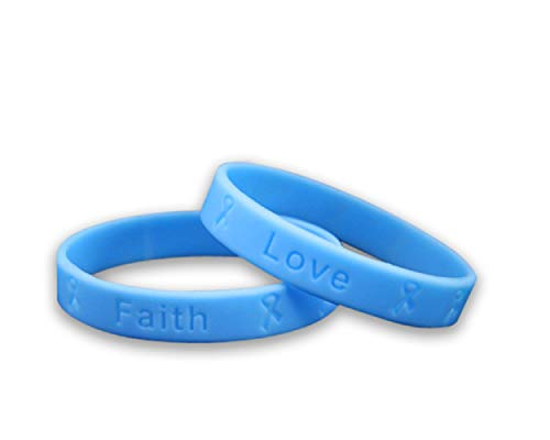 - 50 Pack Prostate Cancer Awareness Light Blue Silicone Bracelets - Adult Size - (50 Bracelets - Wholesale)
