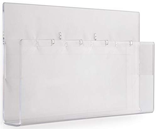 Displays2go Indoor Wall Brochure Holder, 5-Pocket, Removable Dividers, Set of 2, Clear (NGW5) ()