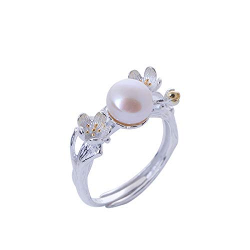 Size 4 to 15 Natural Freshwater Pearl Ring 925 Sterling Silver Ring Flower Designer Silver Band Ring Wedding Gift Natural Gemstone Ring