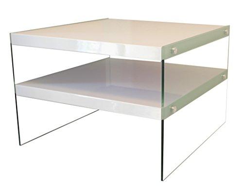 bonVIVO® Designer-Couchtisch Victoria, Beistelltisch in moderner Glas-Holz Kombination, weiß Hochglanz lackiert