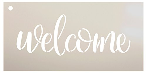 Welcome Sign Stencil by StudioR12 - Reusable, Paint Front Porch Sign, DIY Decor, New Home Gift, Barn Wood, Word Art - STCL1493 - Select Size (8