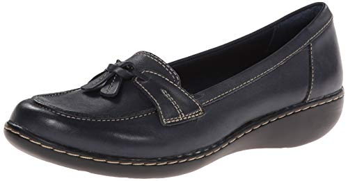Clarks Women's Ashland Bubble,Navy Leather,US 12 W
