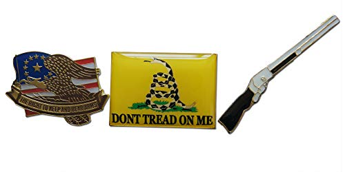 Patriotic American Right to Bear Arms 3-Piece Lapel or Hat Pin & Tie Tack Set with Clutch Back by Novel Merk