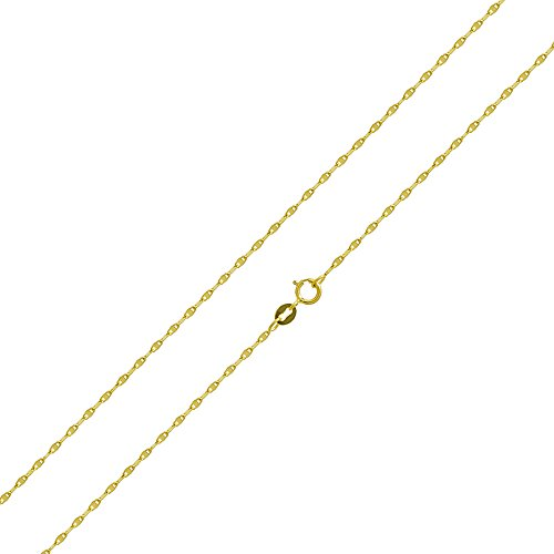 14k Yellow Gold 0.8 mm Twisted Snail Chain Necklace, 22