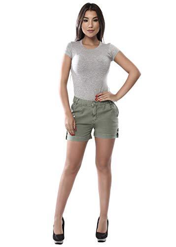 Shorts Barra Dobrada, Sawary Jeans, Feminino, Verde, 40