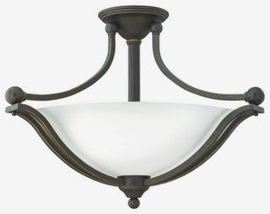 Hinkley 4669OB-OPAL Bolla - Three Light Semi-Flush Mount, Olde Bronze Finish with Etched Opal (Bronze Opal Etched Glass)