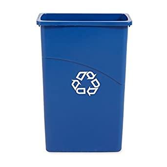 Rubbermaid Commercial Slim Jim Recycling Bin Plastic, 23 Gallons, Blue (354075BE)