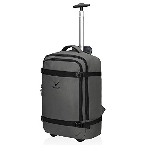 Hynes Eagle 42L Rolling Backpack Wheeled Backpack Flight Approved Carry on Luggage Travel Backpack Grey (Best Travel Luggage Backpack)