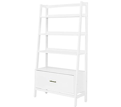 Wood & Style Office Home Furniture Premium Landon Large Etagere Bookcase - White
