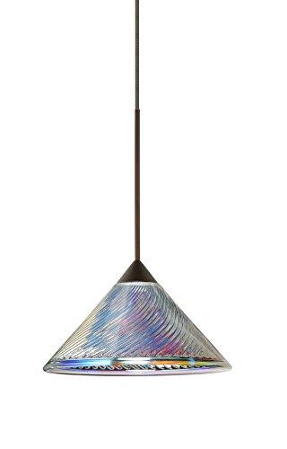 Besa Lighting 1XT-550493-LED-BR 1X6W Led Lightsource Kona Pendant with Dicro Swirl Glass, Bronze - Swirl Dicro