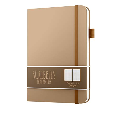 Dotted Journal by Scribbles That Matter - Create Your Own Unique Life Organizer - No Bleed A5 Hardcover Dotted Notebook with Inner Pocket - Fountain Pens Friendly Paper - Pro Version - Beige