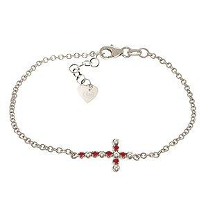 QP bijoutier de rubis naturels Bracelet en or blanc 9 carats, 0,15 CT rond - 4995W