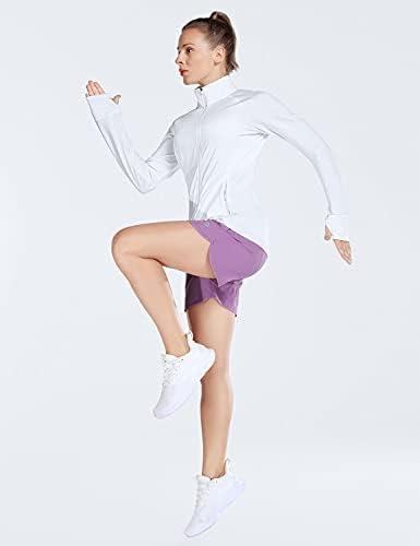 BALEAF Women's Long Sleeve Shirts UPF 50 Lightweight Sun Shirts with Zip Pockets Full Zip Outdoor Jackets