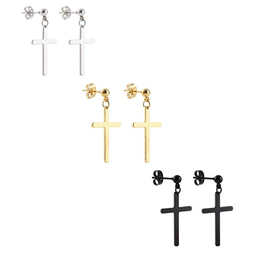 (Ogemluv Stainless Steel Dangling Cross Earrings for Men Women 3Pairs)