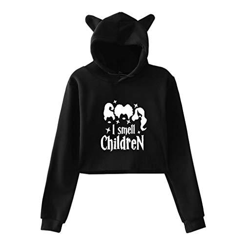 Respctful✿ Women Cute cat Ears Sweatshirts Long Sleeve Cropped Hoodies Teens Cotton Novelty Pullover Hoodie Kids