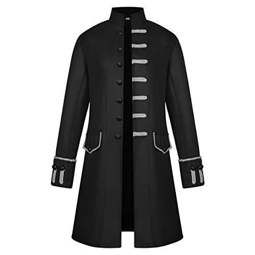 Black Pirate Coat (iCos Unisex Medieval Steampunk Coat Men Stand Collar Jacket Formal Halloween Costume Uniform (Medium,)