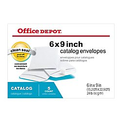 Office Depot Brand Clean Seal Catalog Envelopes, 6in x 9in, White, Pack of 5
