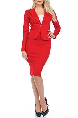 Sweethabit Womens Wear to Work Solid Skirt Suit Set (Large, 3127N-3087N Red) by Sweethabit