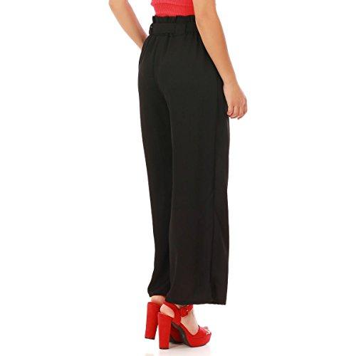 Texturé Noir Taille La Fluide Haute Large Et Modeuse Pantalon Rxn0Sq