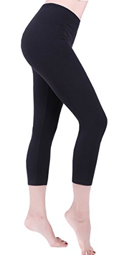 Women Cropped Yoga Workout Running Leggings Solid Color Basic Capris Ultra Soft Summer Breathable Cool Hot Pants-CL6 Black PS