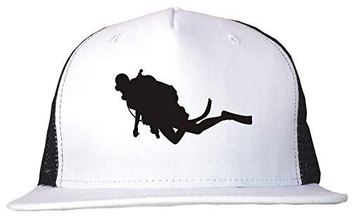 Diver Hat (99 Volts Scuba Diver Logo Trucker Hat Cap Adjustable Black/White)