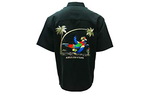 Bamboo Cay - Always Five O'clock, Tropical Style Button Front Camp Shirt (3XL, Black)