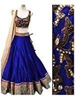 ultrasav Women's Benglory Silk Lehenga Choli (msf024 _Blue _Free Size)