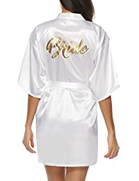 Hawiton Women's Satin Silk Bride & Bridesmaid Robe Gold Glitter Wedding Party Kimono Robes