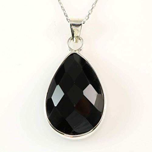 Sterling Silver Natural Faceted Teardrop Black Onyx Handmade Root Chakra Pendant 16+2 inches Chain