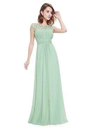 Sleeves Gown Mint Prom Sequins Evening Chiffon Botong Dress Cap Lace Mother Long 5ZqWvOPf