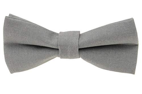 Mens Charm Solid Linen Pretied Bowtie - Various Colors (Light Gray)