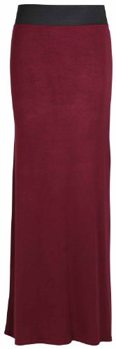 Ceinture Droit lastique Long Taille Robe Bordeaux Grande Contraste Jupe Femmes Neuf Femmes Uni t SnawWtqW6A