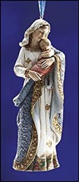 5.25 Inches High, Christmas Madonna and Child Ornament